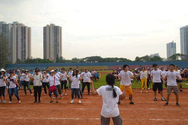 Aerobic Together at SCHOOL OLYMPICS 2015 - lead by School Principal's Mr.Peter