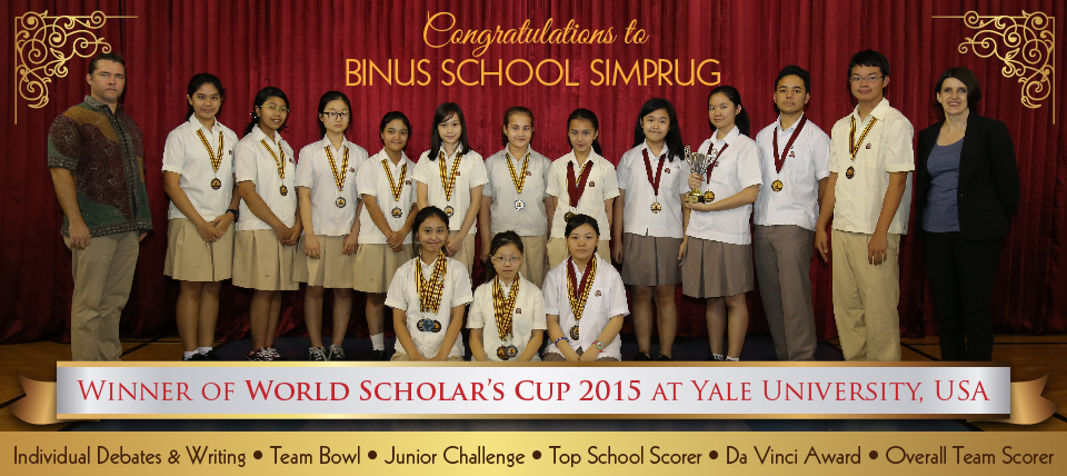 BINUS SCHOOL Simprug WINNING COMPETITIONS AT WORLD SCHOLAR'S CUP 2015 at YALE UNIVERSITY